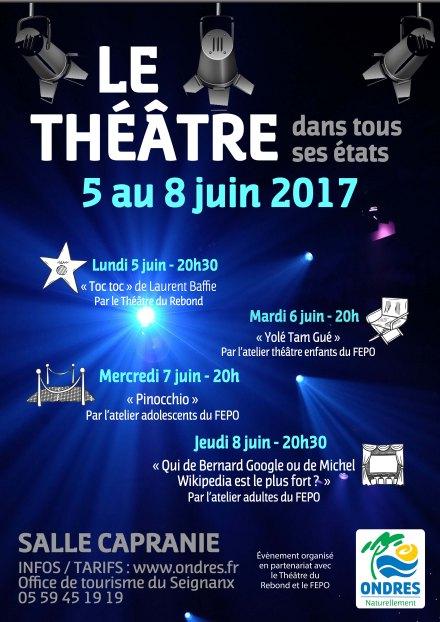 Théâtre 3 représsentations juin 2017